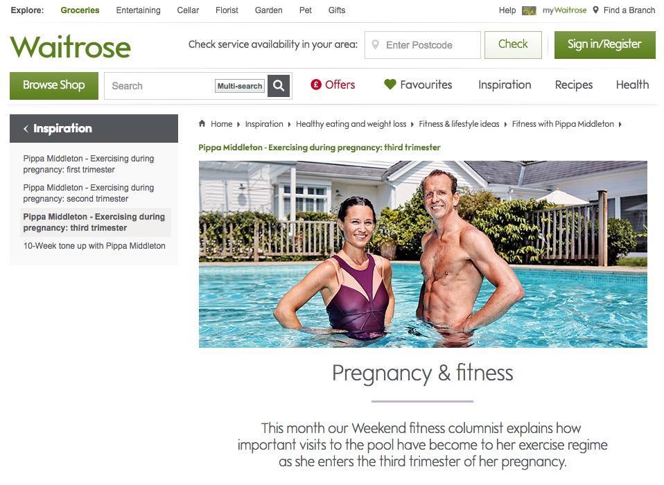 """Auf waitrose.com schreibt Pippa Middleton über """"Pregnancy & Fitness"""". Im dritten Artikel berichtet sie, dass sie aktuell schwimmt, um sich fit zu halten."""