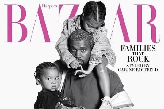 Kanye West mit North und Saint West
