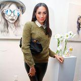 Ganz kuschelig im Cashmere-Pullover mit Leder-Leggins besucht Meghan im Februar 2014 eine Shoperöffnung von Marc Jacobs.