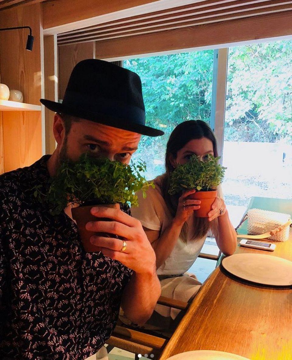 5. August 2018  Vor dem Dinner schnüffeln Jessica Biel und Justin Timberlake an den Gewürzen.