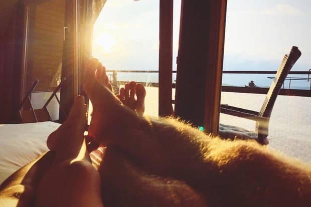 Florian Frowein genießt den Urlaub bei Sonnenschein