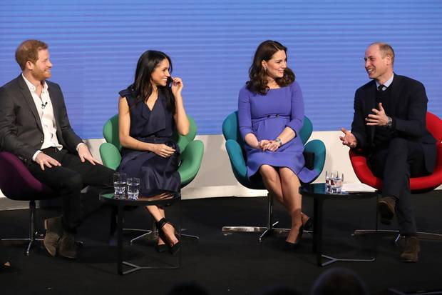 "Prinz Harry, Herzogin Meghan, Herzogin Kate und Prinz William beim ""Royal Foundation""-Forum im Februar 2018"