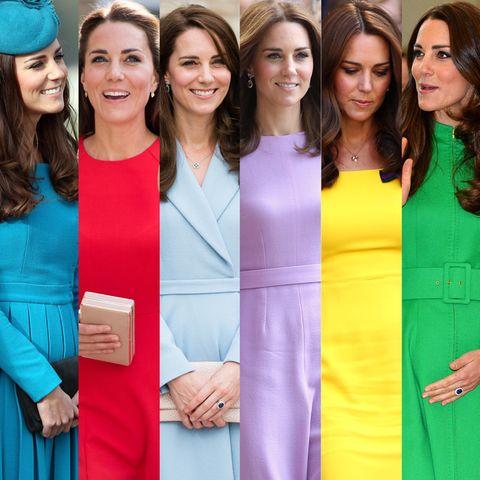 Ob knallig, gedeckt oder zart - Herzogin Catherine setzt gerne auf einfarbige Looks. Muster müssen es bei ihr nicht unbedingt sein.