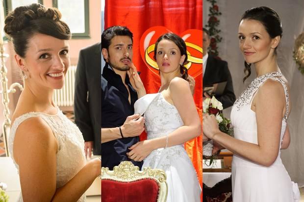 Die drei vorherigen Brautkleider der Jenny Steinkamp waren deutlich bedeckter.