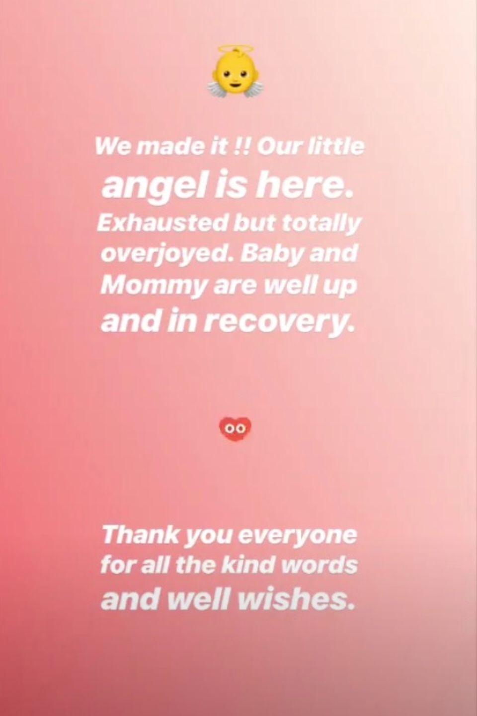 Hana Nitsche verkündet mit diesem Post die Geburt ihrer Tochter