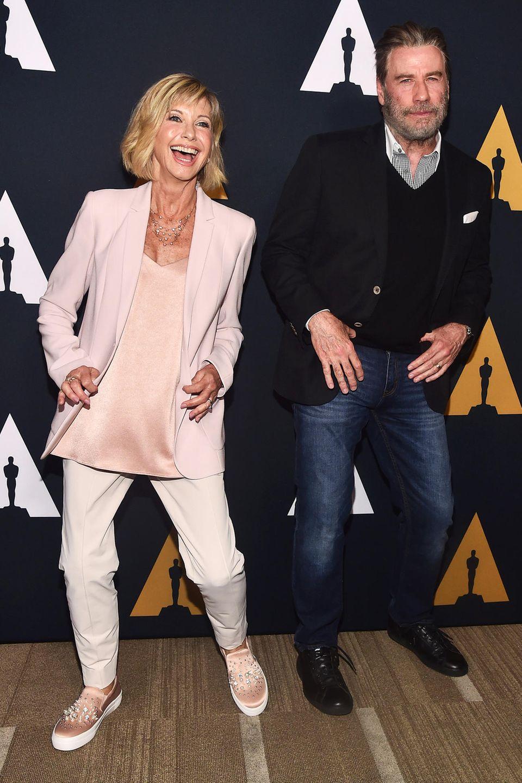 """15. August 2018  """"Grease""""-Revival: Olivia Newton-John und John Travolta schwingen bei der """"Grease 40th Anniversary""""-Veranstaltungin Beverly Hills die Hüften."""