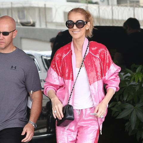 Glam-Gym! Céline Dion in einem Glitzer-Trainingsanzug von Alberta Ferretti