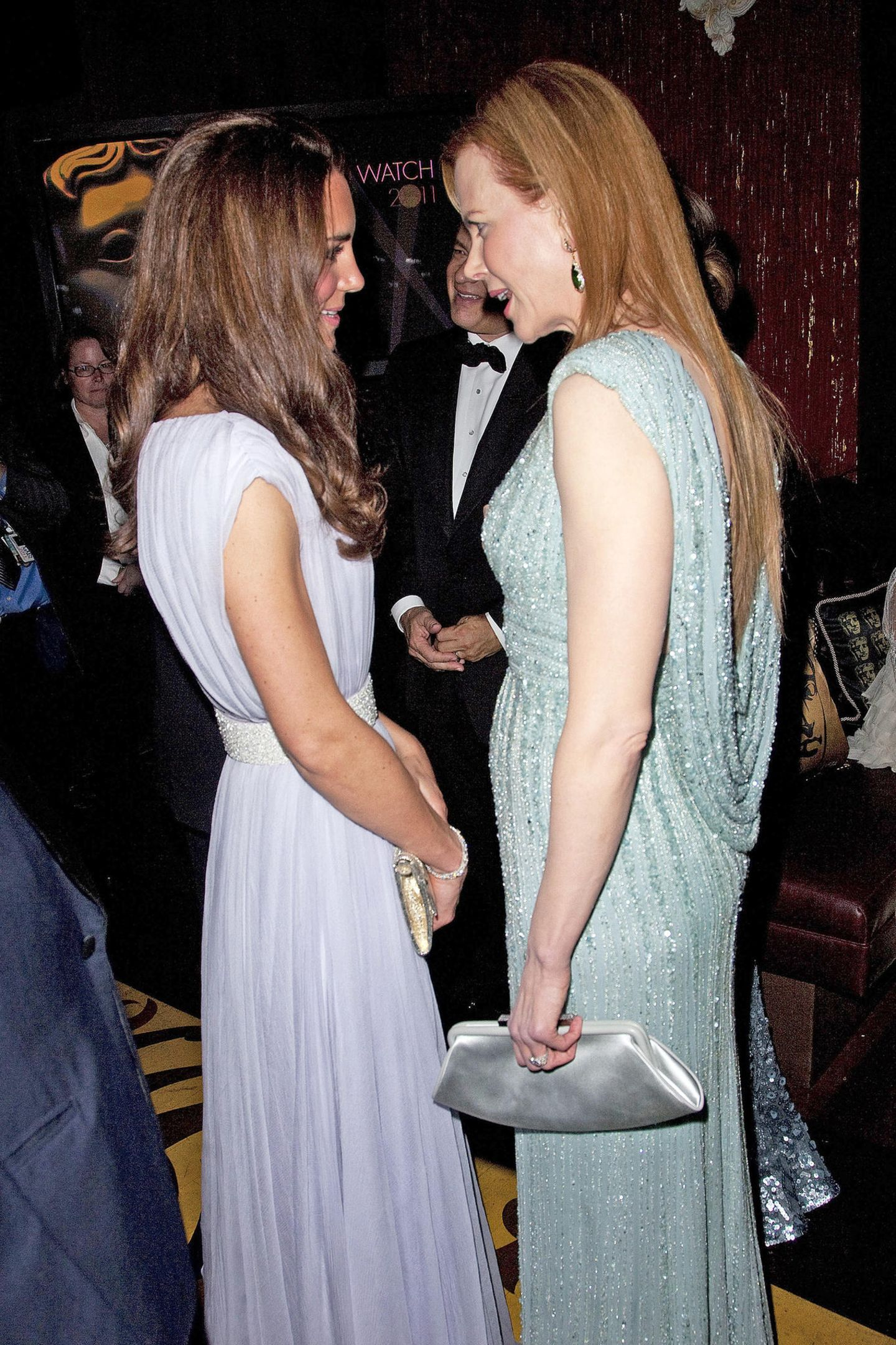 Bei den BAFTAs 2011 bezaubern sowohl Herzogin Catherine als auch Hollywood-Star Nicole Kidman in ihren pastellfarbenen Glamour-Looks.