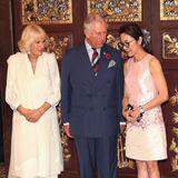 PrinzCharles und HerzoginCamilla treffen sich im November 2017 mit der malaysischen Schauspielerin Michelle Yeoh, und die hat sich dafür ein pastellfarbenes Etuikleid aus Seide ausgesucht.