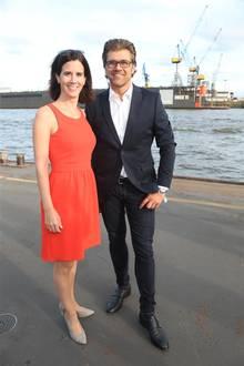 21. August 2018   Promi-Sause auf derMS-Princess: FDP-Politikerin Katja Suding und Event-Profi Gunnar Henke machen sich bereit für eine lustige Schifffahrt ...