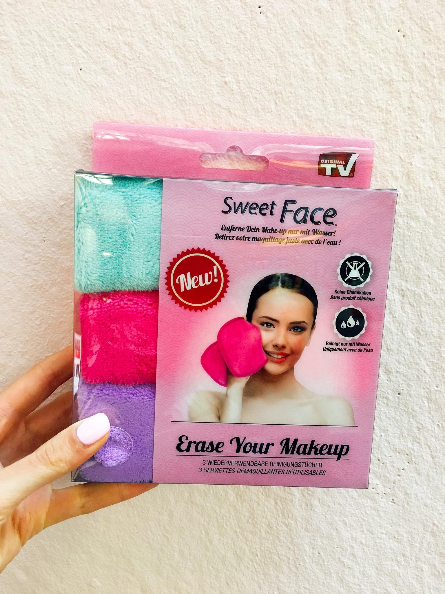 Die Sweet Face Reinigungstücher kommen in süßen Farben, nehmen so gut wie keinen Platz in der Sporttasche weg und lassen sich nach dem Waschen wiederverwenden.