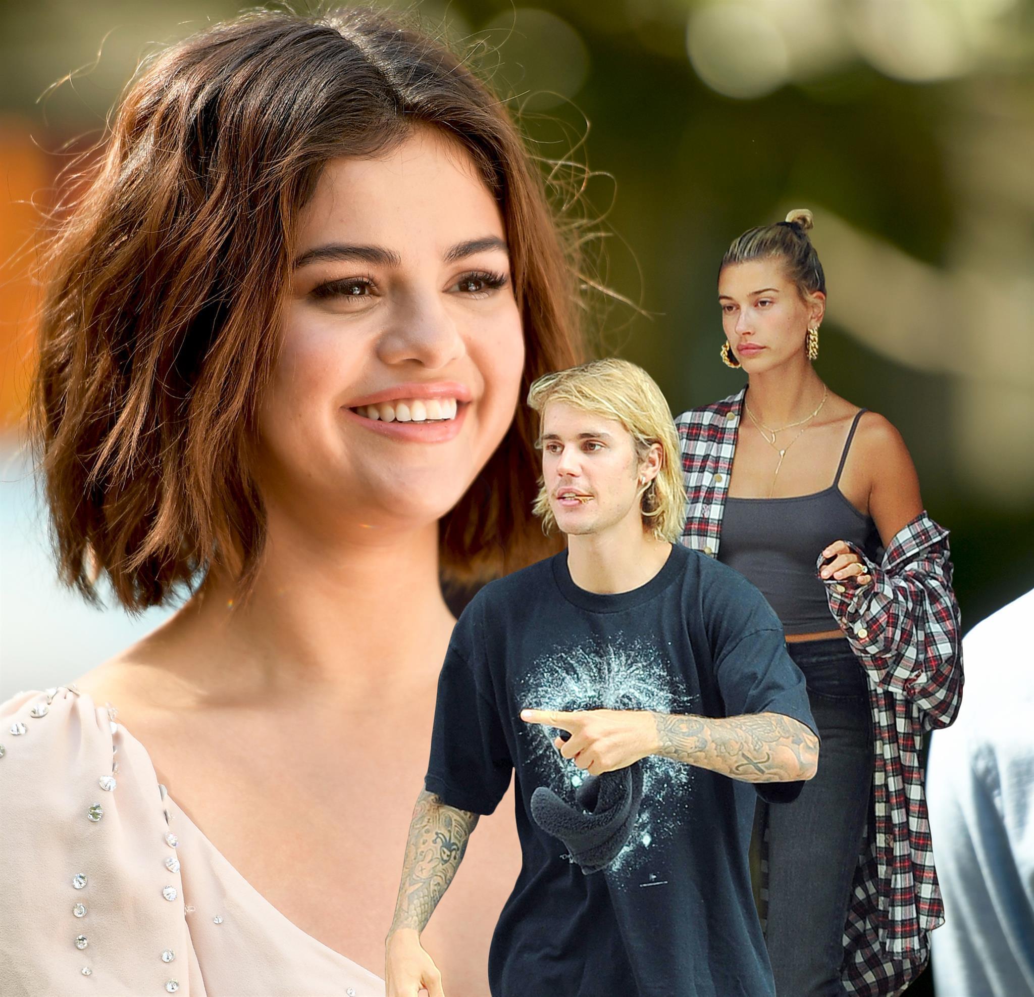 Justin Bieber, Hailey Baldwin und Selena Gomez