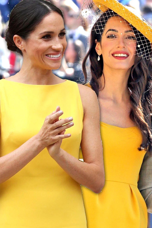 Erst Amal Clooney, dann Herzogin Meghan: Die Schönheiten strahlen beide in einem gelben Kleid.