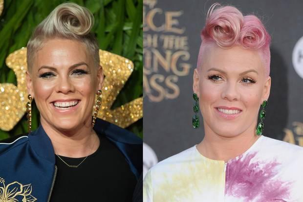 """Sängerin Pink zeigt, wiesich die """"Victory Rolls"""" auch mit kurzem Haar in verschiedenen Varianten tragen lassen. Echt rockig!"""