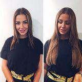 """Kim Gloss hat über Nacht zugelegt: Pünktlich zu ihrem 26. Geburtstag trägt die Sängerin ihre Haare wieder lang. Zu diesem Instagram-Posting schreibt sie: """"Endlich wieder schöne lange Haare"""" und beweist mit Vorher-Nachher-Fotos den enormenUnterschied."""