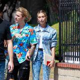 26. August 2018  Justin Bieber im Hawaiihemd und mit neuer Frise besuchtmit seiner Hailey Baldwin den Gottesdienst im sonnigen Los Angeles.