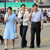25. August 2018  Kronprinz Naruhito, Prinzessin Aiko undKronprinzessin Masako bei der Ankunft am Bahnhof in Nasushiobara anlässlich ihres Urlaubs in Japan.
