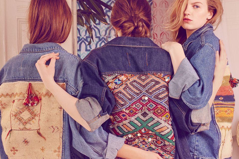 Vintage-Jeansjacke mit Applikationen aus alten Teppichen von Tassel Tales, ca. 260 Euro
