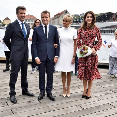 29. August 2018  Bei der abschließenden Veranstaltung des Staatsbesuches posieren die beiden Paare strahlend in Kopenhagen.