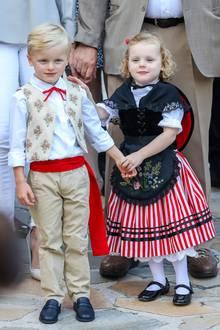31. August 2018  Zuckersüßer Auftritt von Prinz Jacques und Prinzessin Gabriella beim alljährlichen Picknick imPrincessAntoinette Park in Monaco. Im traditionellen Trachtenoutfit posieren die Zwillinge für die Fotografen.