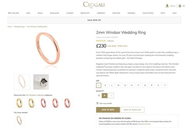 """Das Modell """"Windsor"""" ist in verschiedenen Größen und Goldtönen erhältlich"""