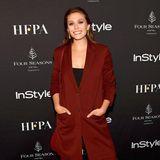 Einen ganz lässig-eleganten Herbst-Look präsentiert Elizabeth Olsen bei der TIFF-Party vonHFPA und InStyle.