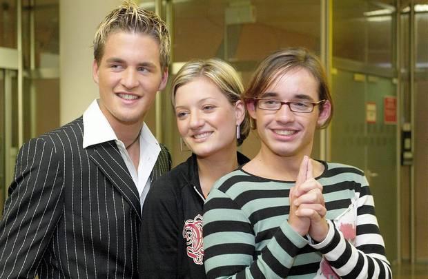 2003  Im DSDS-Finale wird der damals 17-jährige Daniel Dritter. Hier zu sehen mit dem Sieger der Staffel Alexander Klaws undJuliette Schoppmann.