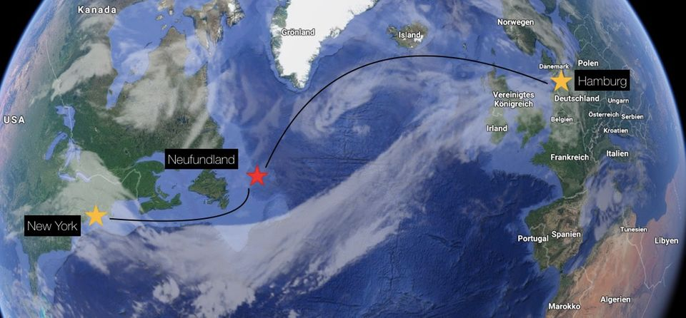 Auf der Reise von Hamburg nach New Work ist der Sänger Daniel Küblböck vor der Insel Neufundland (rote Markierung) über Board des Kreuzfahrtschiffs AIDAluna gegangen. Die Wassertemperatur liegt in diesem Bereich des Atlantiks bei ungefähr 10,5°C.