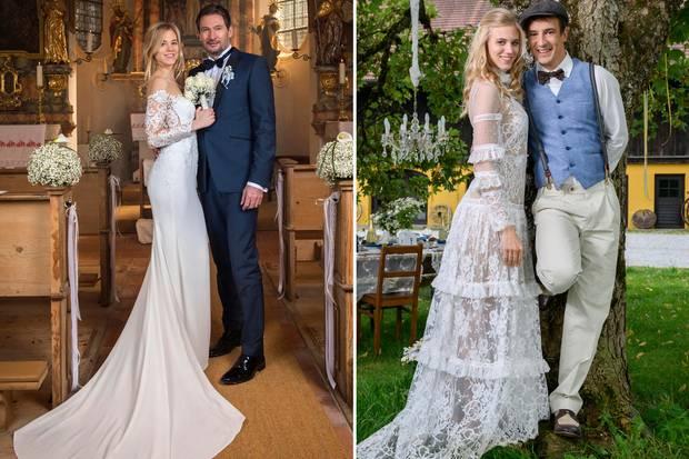 Die Brautkleider von Alicia im Vergleich: Links edel und klassisch bei der Hochzeit mit Christoph, rechts verspielterBohemian-Look bei dem Jawort mit Viktor