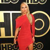 Lindsey in Red: Ski-Star Lindsey Vonn fällt bei der Emmy-Party von HBO mit Signalfarbe auf.
