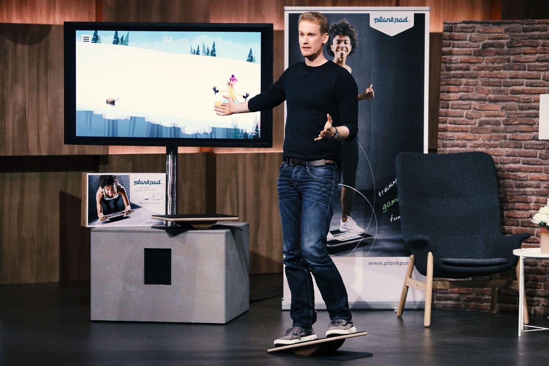 """André Reinegger aus Aachen präsentiert mit """"Plankpad"""" Planken und Spielen in einem. Er erhofft sich ein Investment von 50.000 Euro für 15 Prozent der Anteile an seinem Unternehmen."""