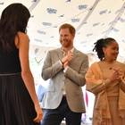 """Prinz Harry mit Herzogin Meghan und seiner Schwiegermutter Doria Ragland bei der Vorstellung von """"Together"""""""