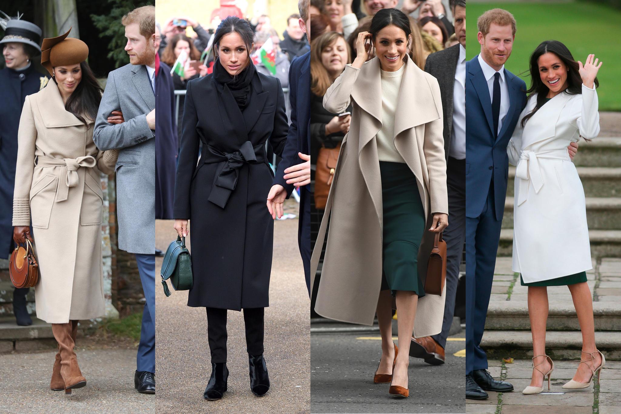 Der Wickelmantel scheint Meghans Liebling zu sein:In vielen verschiedenen Farben passt er zu vielen verschiedenen Outfits.
