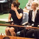 Bei einer Gedenkfeier zu Ehren des verstorbenen Generalsekretärs Kofi Annan in New York kommen Prinzessin Victoria die Tränen.