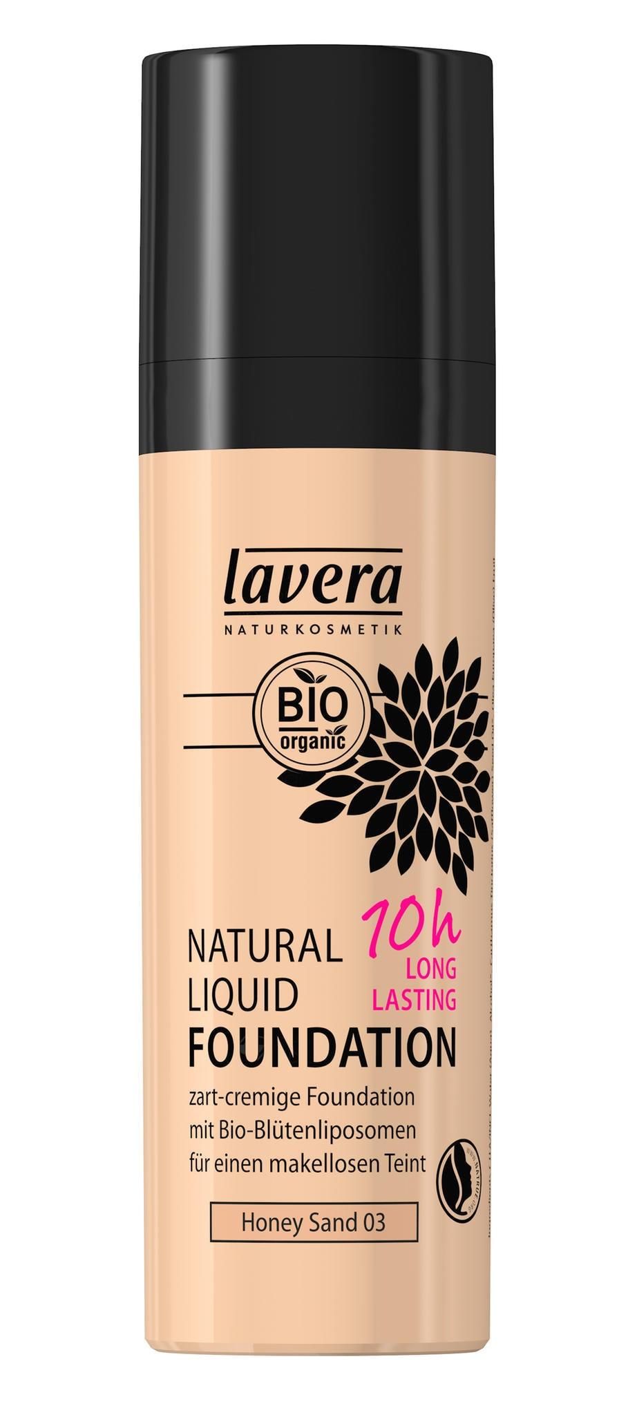 Zart-cremige Foundation mit mittlerer Deckkraft für einen frisch aussehenden Teint mit Bio-Arganöl und Bio-Blütenliposomen:lavera Natural Liquid Foundation