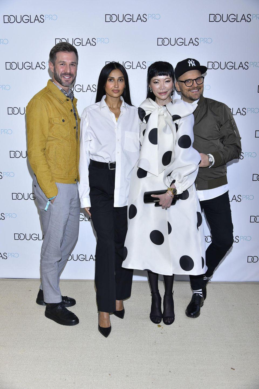 26. September 2018  Gute Laune in Hamburg: TV-Star Jochen Schropp, Moderatorin Wana Limar, Dr Georgia Lee undPromi-Visagist Armin Morbach.