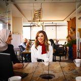 """2. Oktober 2018  Königin Rania beim Treffen mit den """"Leaders of Tomorrow"""" in Amman, Jordanien."""