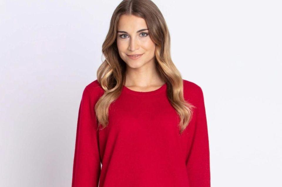 """Kuschelig weich und ein echter Hingucker: Roter Pullover mit Rundhalsausschnitt aus der """"My Cashmere Kollektion"""" von GALA. Exklusiv erhältlich auf HSE24.de."""