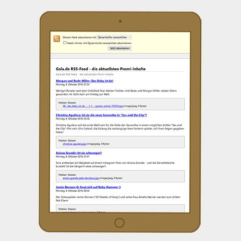 RSS-Feed abonnieren: RSS-Feeds von Gala.de