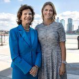 3. Oktober 2018  Königin Silvia und Prinzessin Madeleine strahlen vor der Skyline von New York um die Wette.