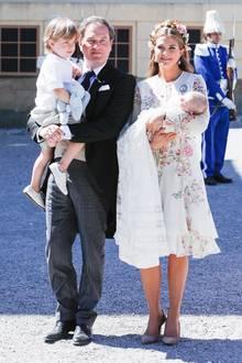 Prinzessin Madeleine zusammen mit Ehemann Christopher O'Neill und ihren beiden KindernPrinzessin Adrienne und Prinz Nicolas