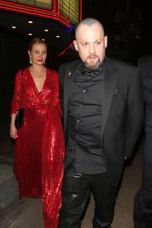 15. April 2018  Cameron Diaz begeistert im roten Dress, während sie und Benji Madden beim Verlassen einer Party, ausgetragen von Schauspielerin Gwyneth Paltrow, gesichtet werden.