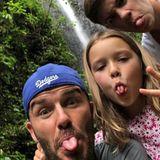 7. Oktober 2018  Ein bisschen Spaß muss sein. David Beckham albert mit Harper und Romeo herum.