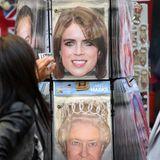 """""""Royal Wedding""""-Fieber, Teil 2! Wie auch bei Prinz Harry und Meghan sind Masken mit dem Konterfei der Braut, Prinzessin Eugenie jetzt ein Verkaufsschlager."""
