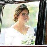 Da ist die Braut! Prinzessin Eugenie sieht mit ihrer Smaragd-Tiara bezaubernd aus.