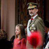 12. Oktober 2018   Die schauen aber ernst: König Felipe und TochterPrinzessin Leonor bei der Militärparade anlässlich der Feierlichkeiten zum spanischen Nationalfeiertag auf dem Plaza de Lima in Madrid.