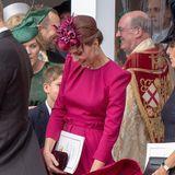 Marilyn-Moment: Herzogin Catherine muss bei dem stürmischen Wind gut aufpassen, dass ihr bloß kein Mode-Malheur passiert.