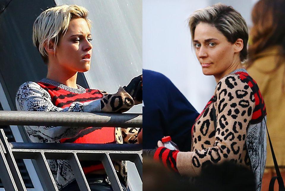 """Wir sehen doppelt: In Hamburg steht Schauspielerin Kristen Stewart für den Film """"Drei Engel für Charlie"""" vor der Kamera. Für besonders gefährliche Action-Szenen steht ihr Stuntdouble schon bereit."""