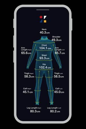 Mit Hilfe des Zozo-Suits und der App wird ein 3D-Modell des eigenen Körpers erstellt.