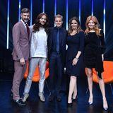 """Fünf Style-Freunde auf der """"Tribute to Bambi""""-Bühne:Jochen Schropp, Riccardo Simonetti, Nico Rosberg, Rebecca Immanuel und Palina Rojinski (v.l.)"""